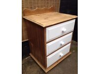 Vintage French Country *OLD PINE CHEST OF DRAWERS* White Painted Storage Fronts