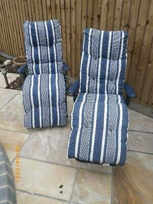 GARDEN RECLINER CHAIRS X 2 BLUE AND WHITE STRIPE SUPER THICK CUSHIONS EX COND