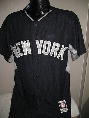 MLB New York Yankees Baseball Authentic Blue Road Logo Jersey Majestic Mens Nwt ()