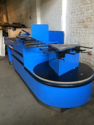 Electric Checkout Counter 7 Belt Blue Motorized Check Lane Carousel Bag Holder