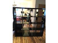 Habitat room divider/bookcase black gloss