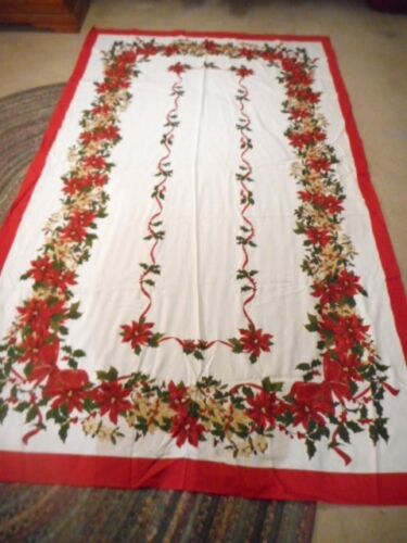"""DECEMBER HOME CHRISTMAS TABLECLOTH RED, WHITE & GREEN COLORS RECTANGLE 96"""" X 60"""""""