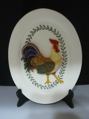 Embossed Rooster (OVAL CERAMIC EMBOSSED ROOSTER PLAQUE - 10 3/4