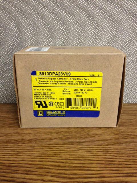 Square D 8910DPA23V09, 25A, 3P, 208-240/220V Contactor