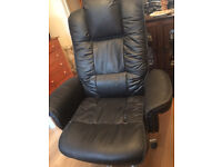 BLACK REAL LEATHER OFFICE/DESK ARMCHAIR, VERY COMFORTABLE, REDUSED TO CLEAR