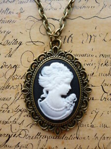 Antique Bronze Steampunk Victorian Lady Portrait Black Cameo Jewellery Necklace