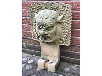 Rare Unusual Gothic Gargoyle Stone Wall Fountain Mask Spout Water Feature