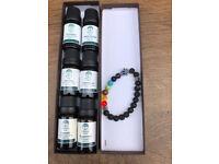 Set of 6 oils & chakra hand lava bracelet