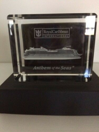 Royal Caribbean Anthem of the Seas CRYSTAL BLOCK Paperweight