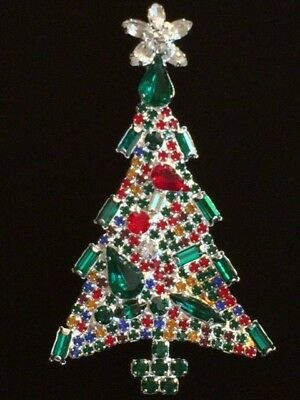 SILVER PRONG SET BAGUETTE PEAR RHINESTONE CHRISTMAS TREE PIN BROOCH JEWELRY 3.5