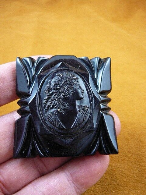 (c1553) Vintage Woman looking up black Bakelite mourning square cameo pin brooch