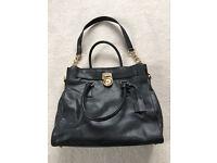 MICHAEL KORS Hamilton large black leather satchel