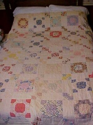 Vintage 1920sQUILT, CHAIN & BLOCKS, FOR CRAFTS, to REPURPOSE