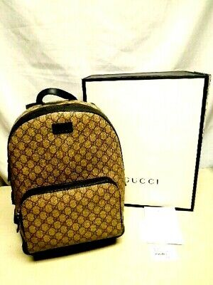 Gucci Back Pack GG Supreme C0202 BEAUTIFUL w/ Tag, Orig Box
