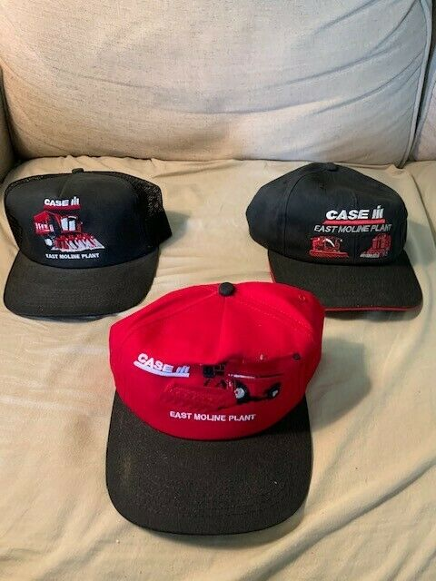 Case IH Caps - Lot of 3 - East Moline Plant - Snap Closure - Free Shipping