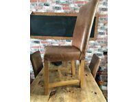 4 x Brown Leather Shabby Sheek Dining Chairs (INDIGO)