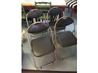 BLACK FOLD OUT CHAIRS X4