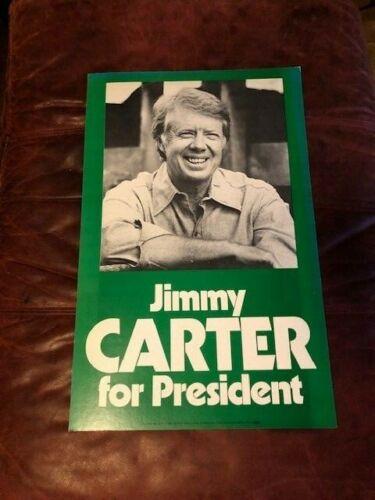 "Vintage Original 1976 JIMMY CARTER For President Campaign Poster 21"" X 13"""