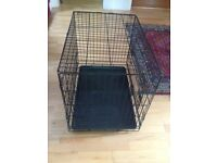 Black metal dog cage.