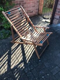 Deckchair 2 Hardwood Wood Slates perfect condition hardly used comfortable clean with no damage
