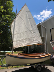 Classic wooden sailboat