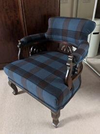 Stunning Tartan Edwardian Chair completely restored
