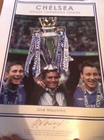 Rare Jose Mourinho signed print - Chelsea League Champions 2004/05 Limited
