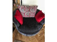 Scatter back fabric love seat/ cuddle chair v comfortable & v good condition