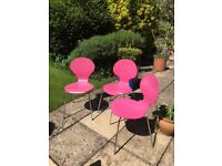 3 Bright Pink Dining Chairs