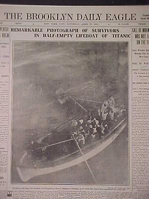 VINTAGE NEWSPAPER HEADLINE~STEAM SEA SHIP WRECK TITANIC SINKS DISASTER LIFEBOAT