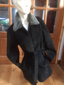 Black suede leather jacket with detachable faux fur collar size 16