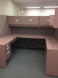 Office furniture: 4 cubicles with shelves and tables