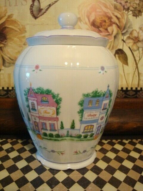 2005 Lenox Village Fine White Porcelain Victorian Buildings Cookie Jar