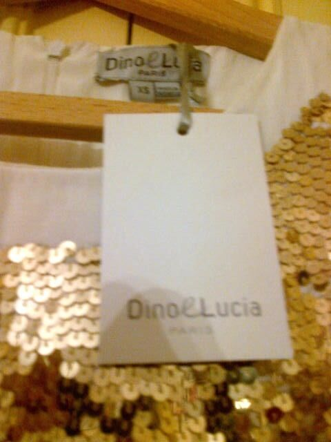 NEW Dino E Lucia Girls Dress size 14 years old gold sequins front, new with tags in NW3