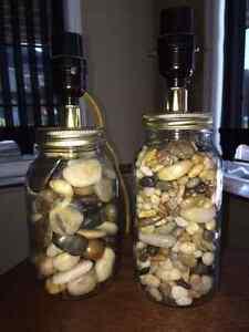 BRAND NEW Stone-Filled Mason Jar Lamps!!!
