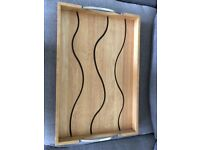 Solid Wood (Oak) Tray with Chrome Handles