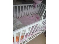Baby Cot (Kiddicare) + Mattress - Good Condition and Price