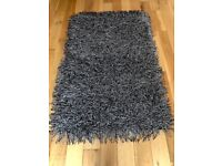 CONTEMPORARY BLACK & WHITE THICK LONG PILE SHAGGY RUG