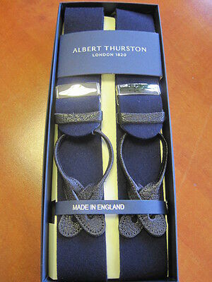 ALBERT THURSTON BOXCLOTH LEATHER END BRACES ONE SIZE NAVY
