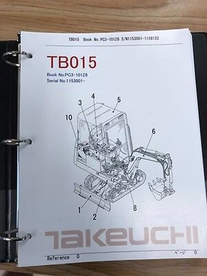 Takeuchi Tb015 Parts Manual Sn 1153001 And Up Free Priority Shipping