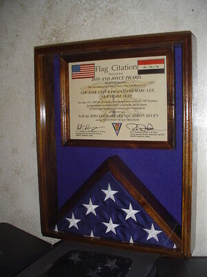 3X5 FLAG & CERTIFICATE DOCUMENT DISPLAY CASE - SOLID WALNUT - IRAQ, AFGHANISTAN - Flag Certificate Display Case