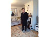 Gentlemens Black 100% Wool Overcoat