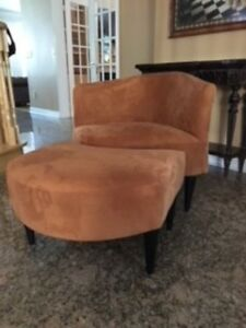 FUNKY ORANGE CHAIR AND OTTOMAN