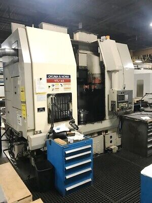 98 Okuma Howa Vtl-45m C Axis One Spindle Twin Turret Vertical Boring Mill Fanuc