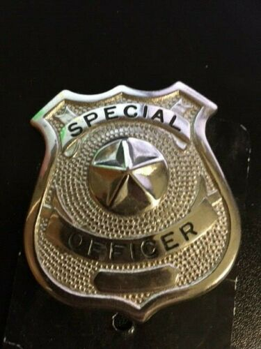 NEW SPECIAL OFFICER BADGE, HEAVY AND STURDY - NICKLE PLATED SILVER METAL TONE