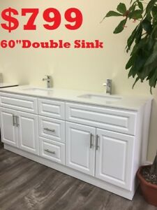 "BATHROOM VANITY 60""  $799.    SHOWER PANEL $186"