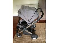 ****price reduced for quick sale***BABYSTYLE OYSTER CARRYCOT & PUSHCHAIR WITH SILVER CHASSIS £65 ono