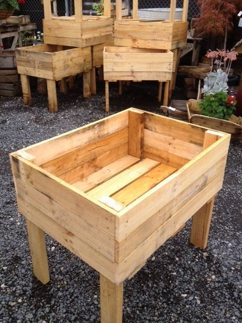 Raised Garden Beds On Legs Planter Box Wooden Rustic Crate