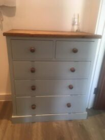 Duckegg wooden chest of drawers