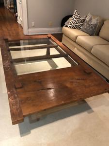 Beautiful reclaimed wood barn door coffee table